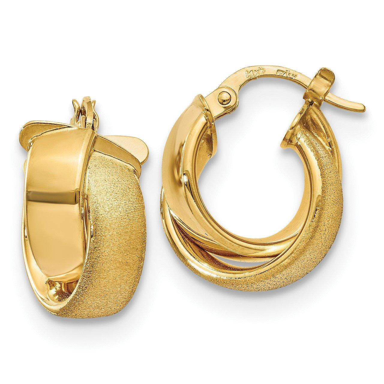 Leslie's 14K Polished and Satin Hoop Earrings