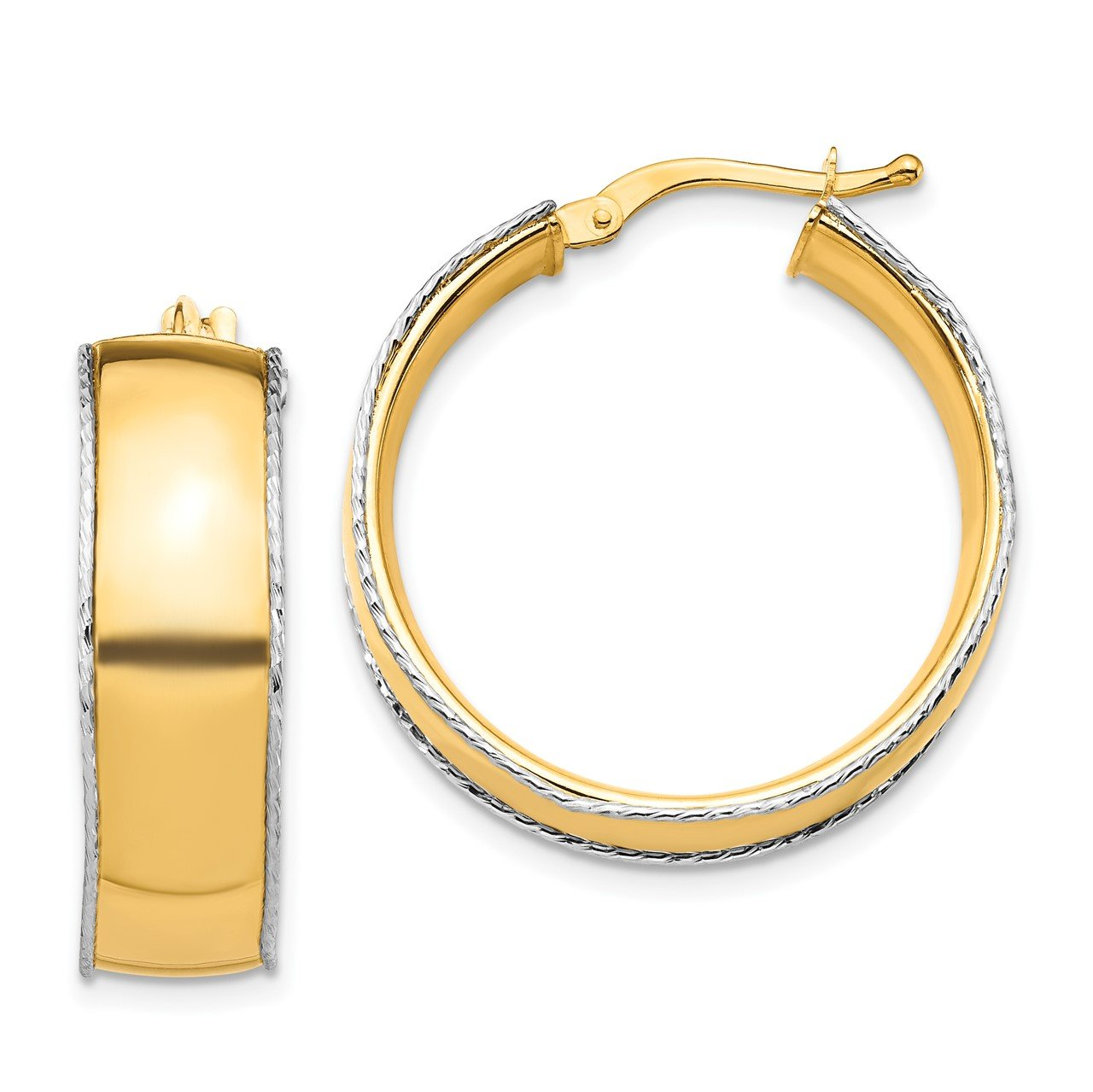 14K Yellow and White Gold 8x25mm D/C Edge Hoop Earrings