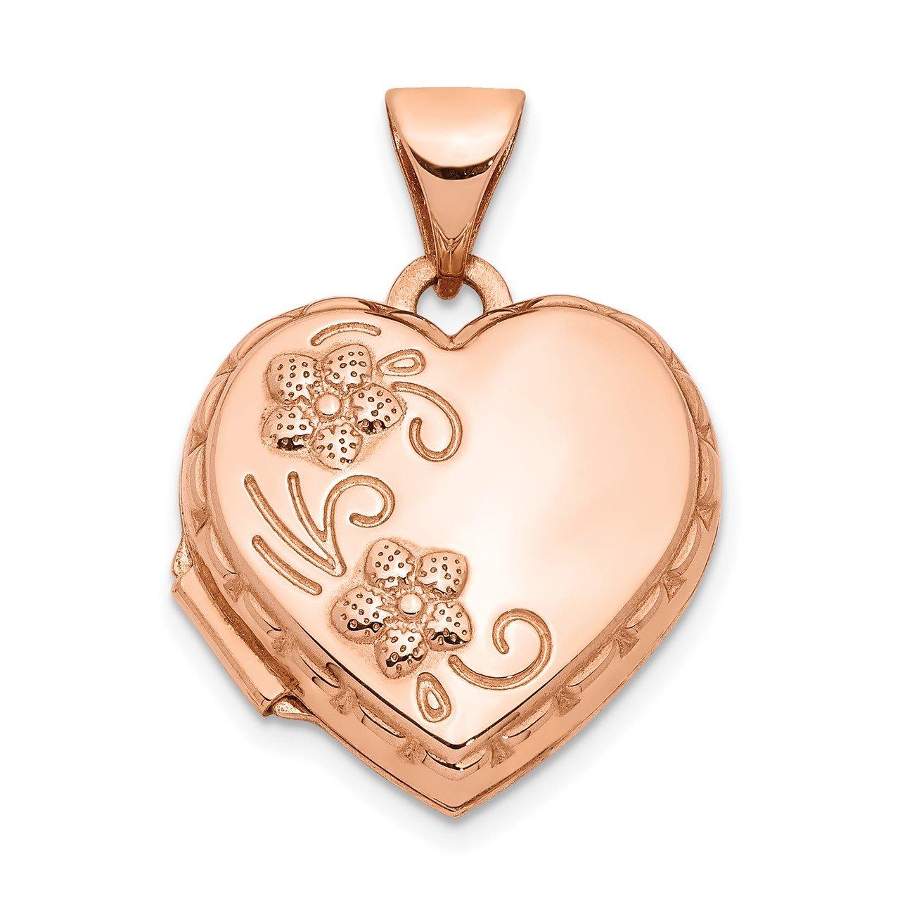 14k Rose Gold 15mm Heart Locket