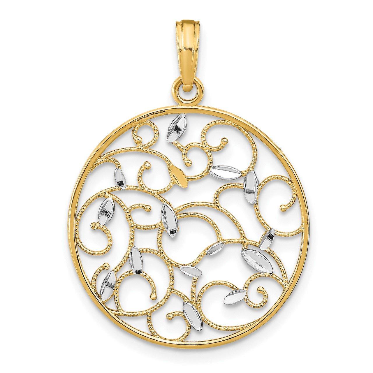 14K with Rhodium Floral Medallion Pendant Charm