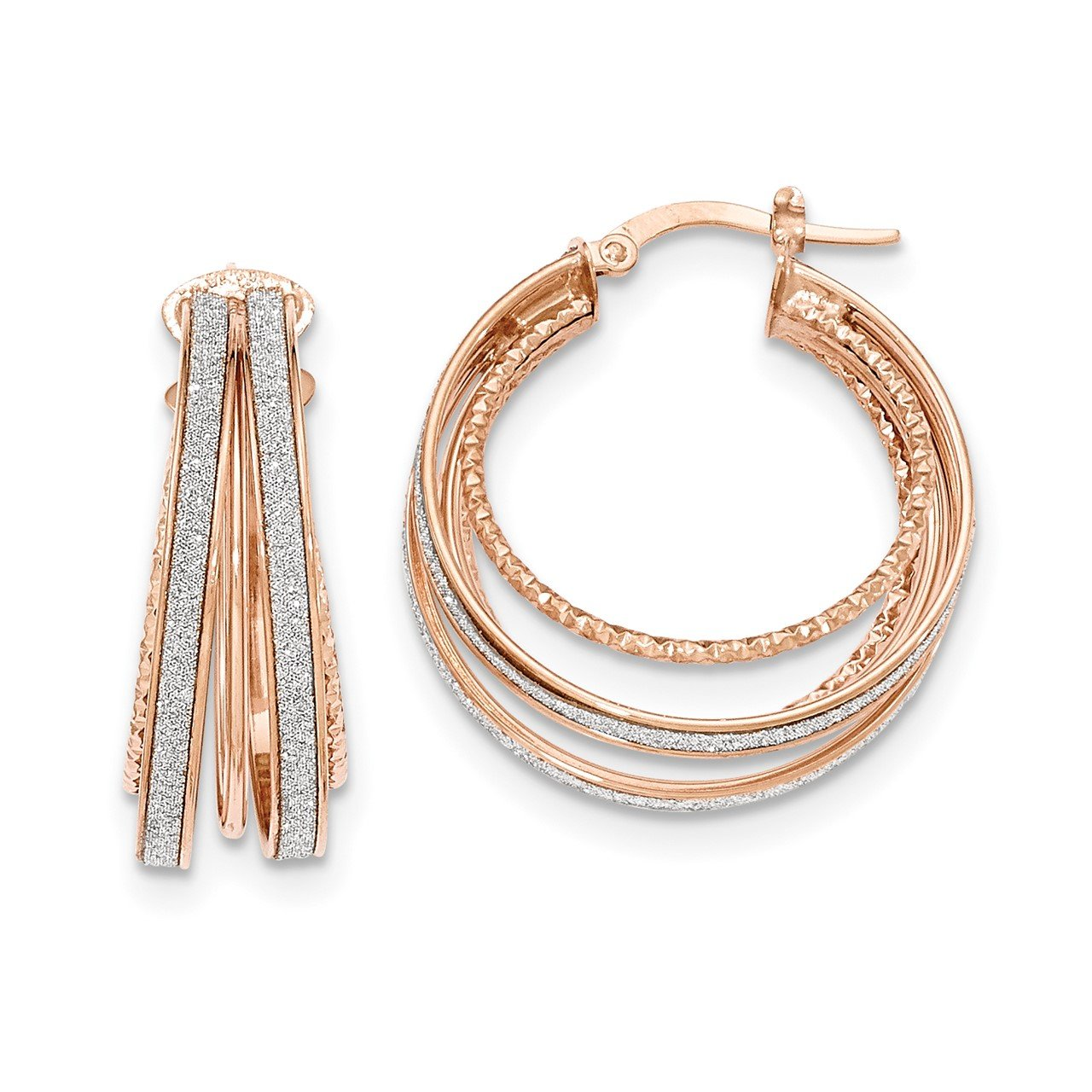 14k Rose Gold Polished Glitter Infused Round Hoop Earrings