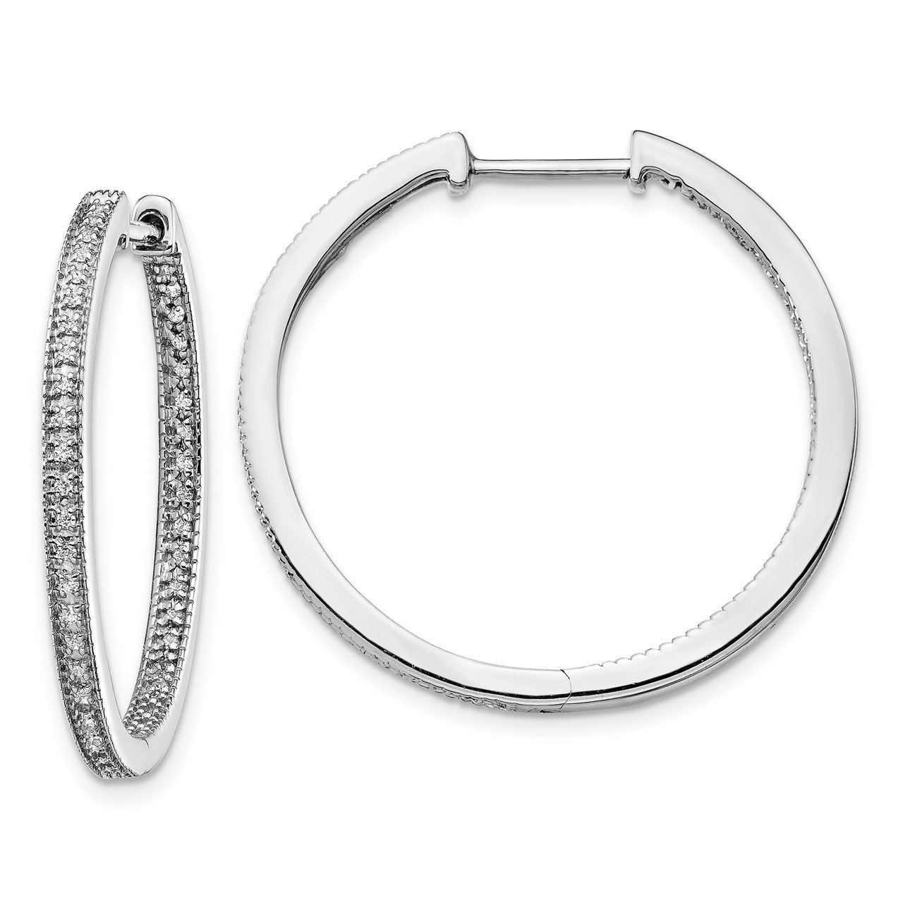 14k White Gold Polished Diamond In/Out Hinged Hoop Earrings