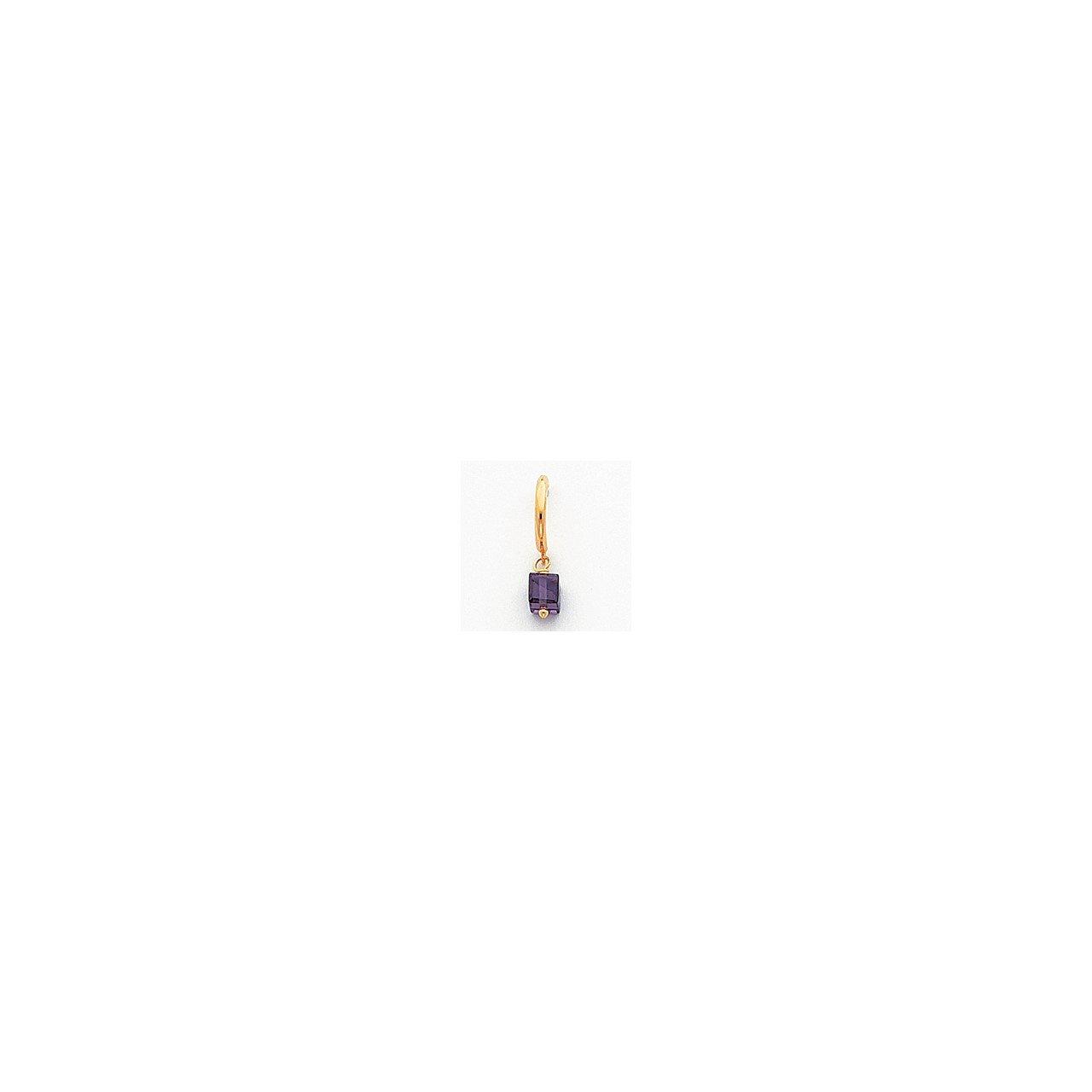 14k Purple CZ Dangle Half Hoop Earrings