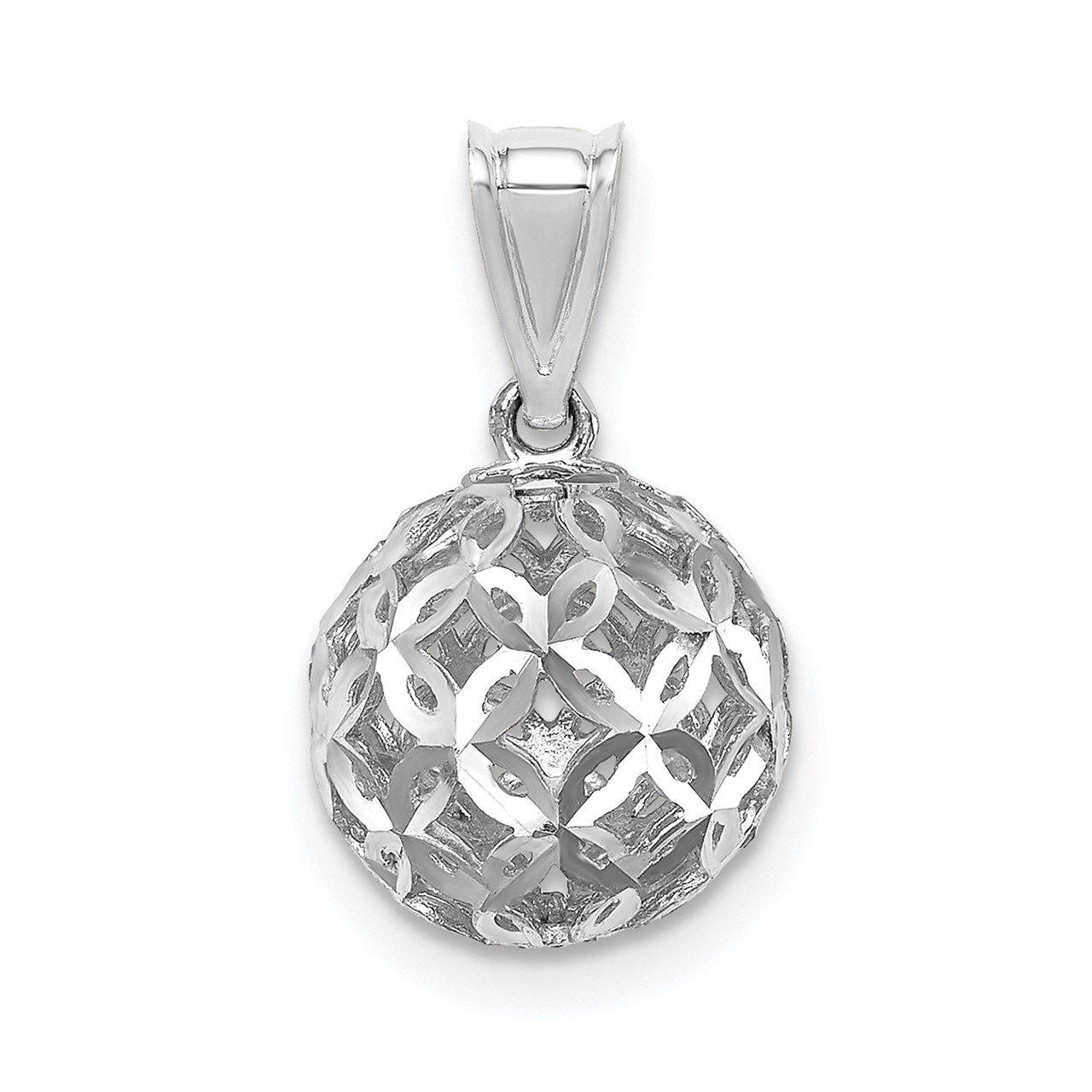 14K White Gold D/C Ball Dangle Pendant
