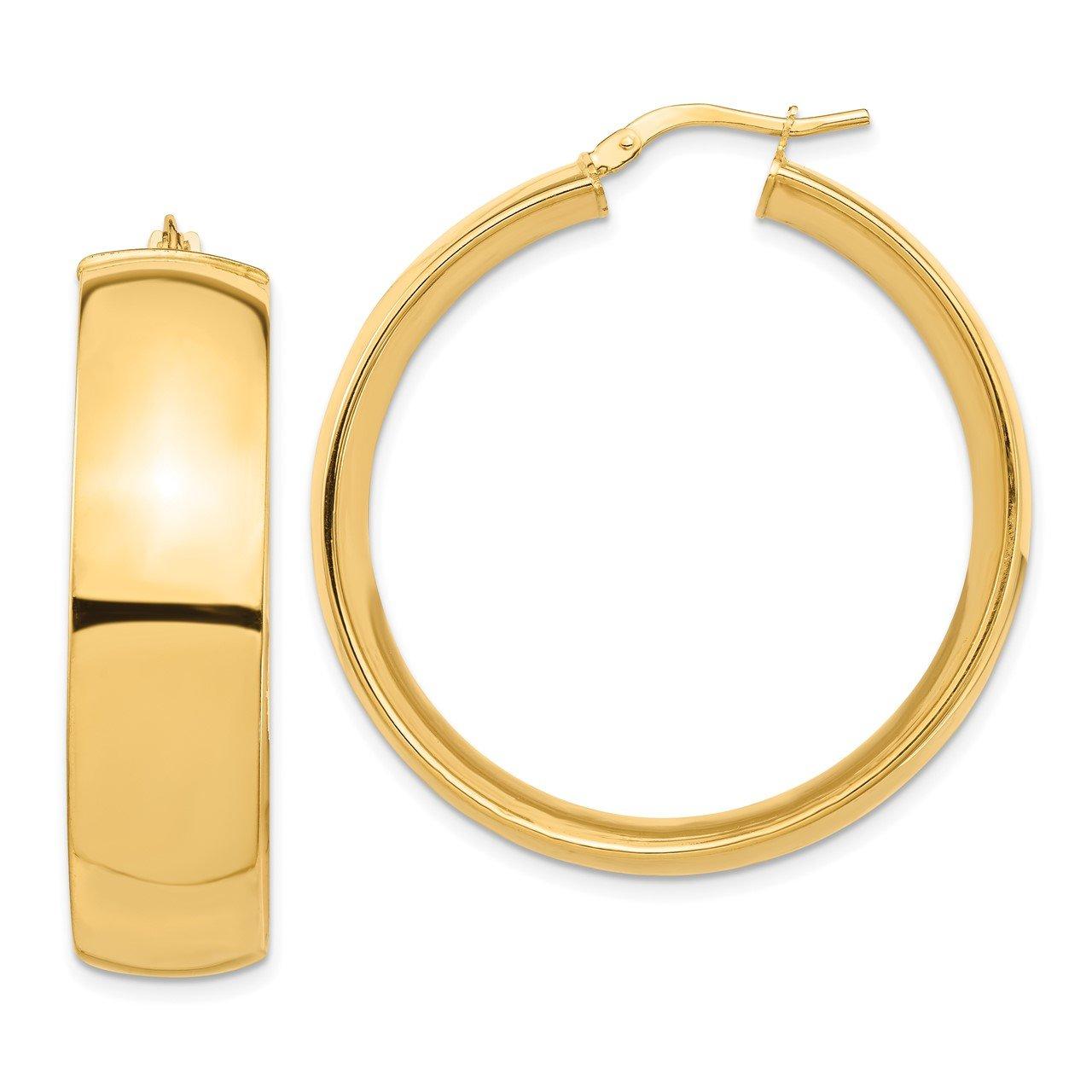 14k High Polished Large 10mm Hoop Earrings