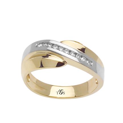 14K Two Tone Gold Diamond Wedding Band