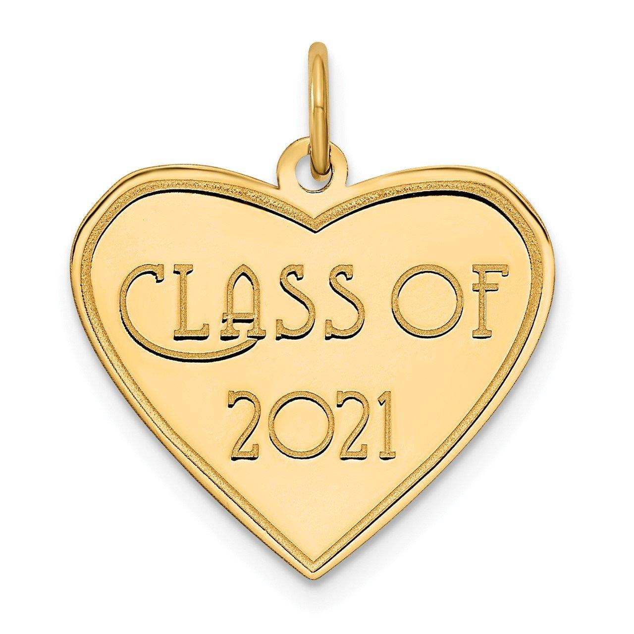 14k Class of 2021 Heart Charm
