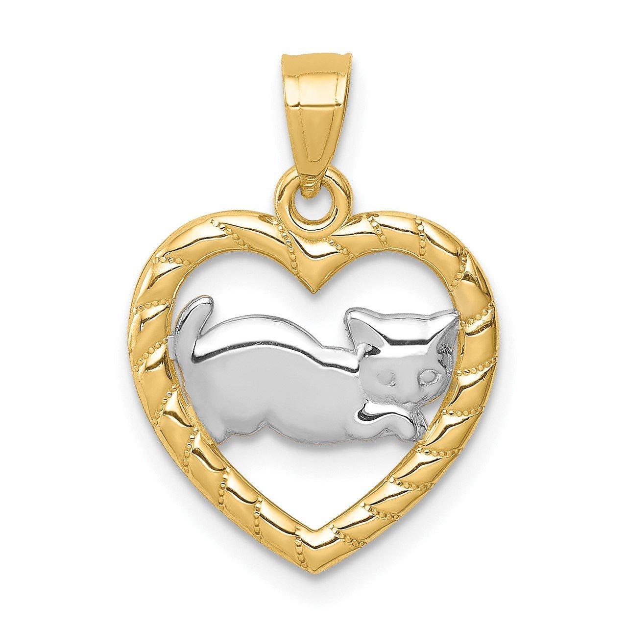 14K with Rhodium Cat in Heart Pendant