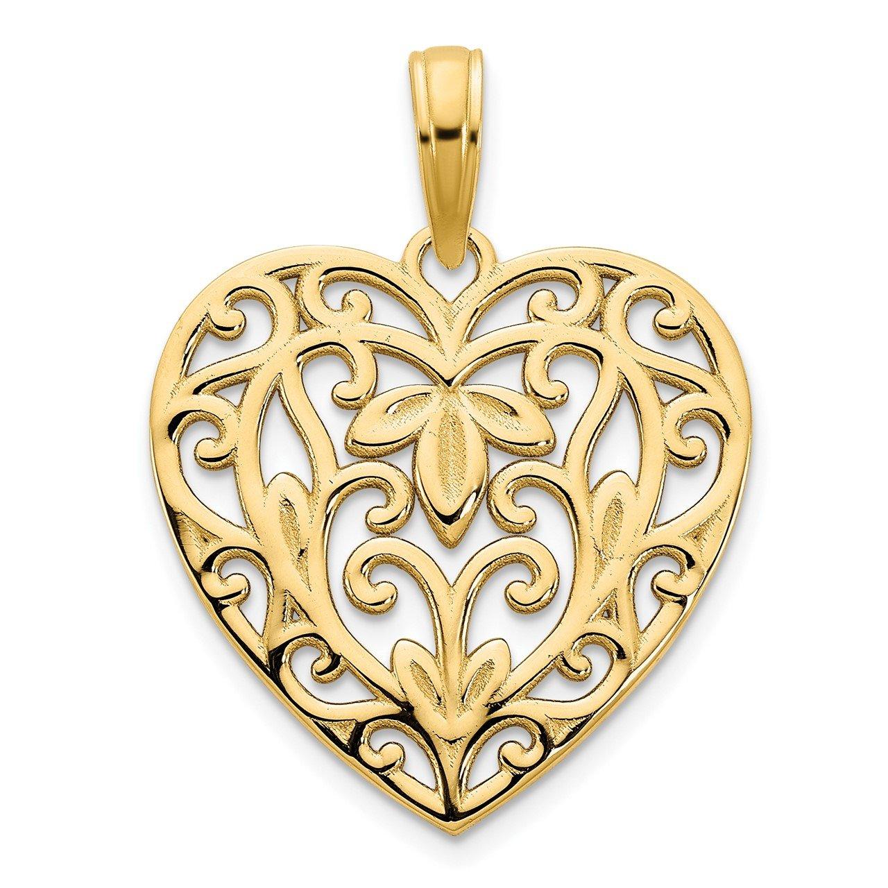 14ky Fancy Heart Pendant