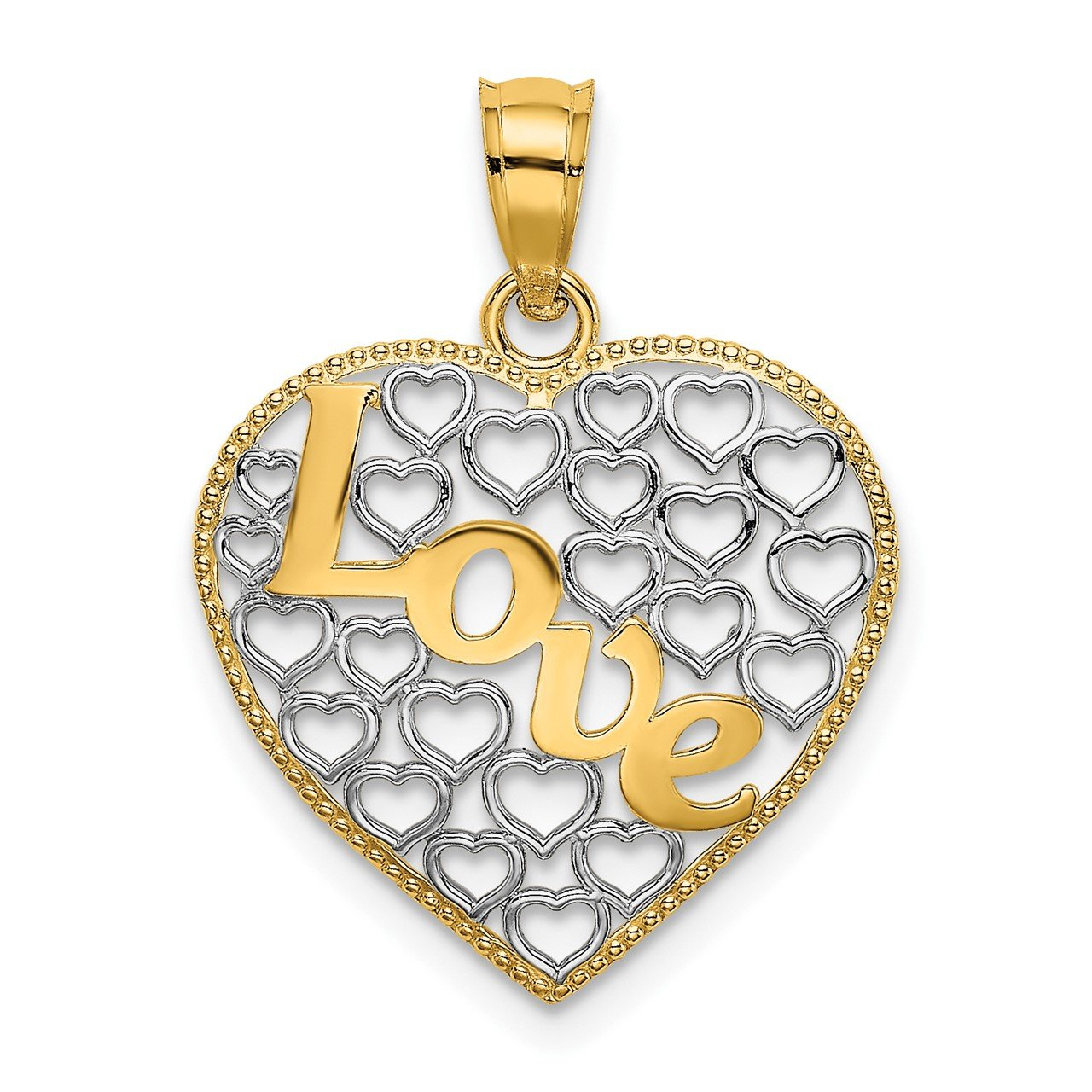 14k LOVE with Rhodium Heart Charm