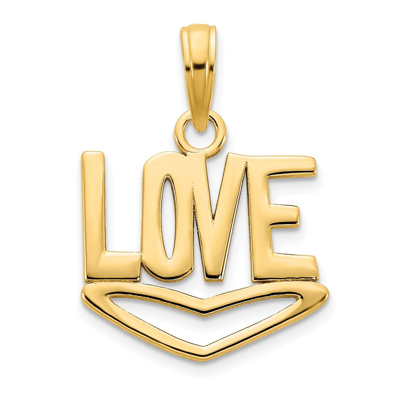 14k LOVE with Heart Pendant