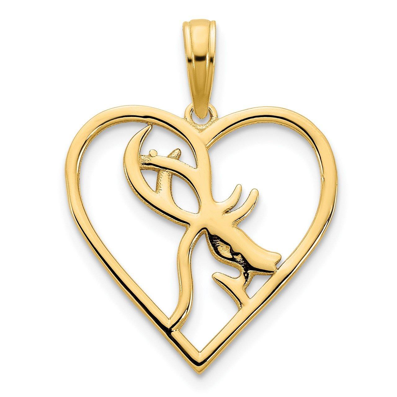 14ky Deer in a Heart Pendant