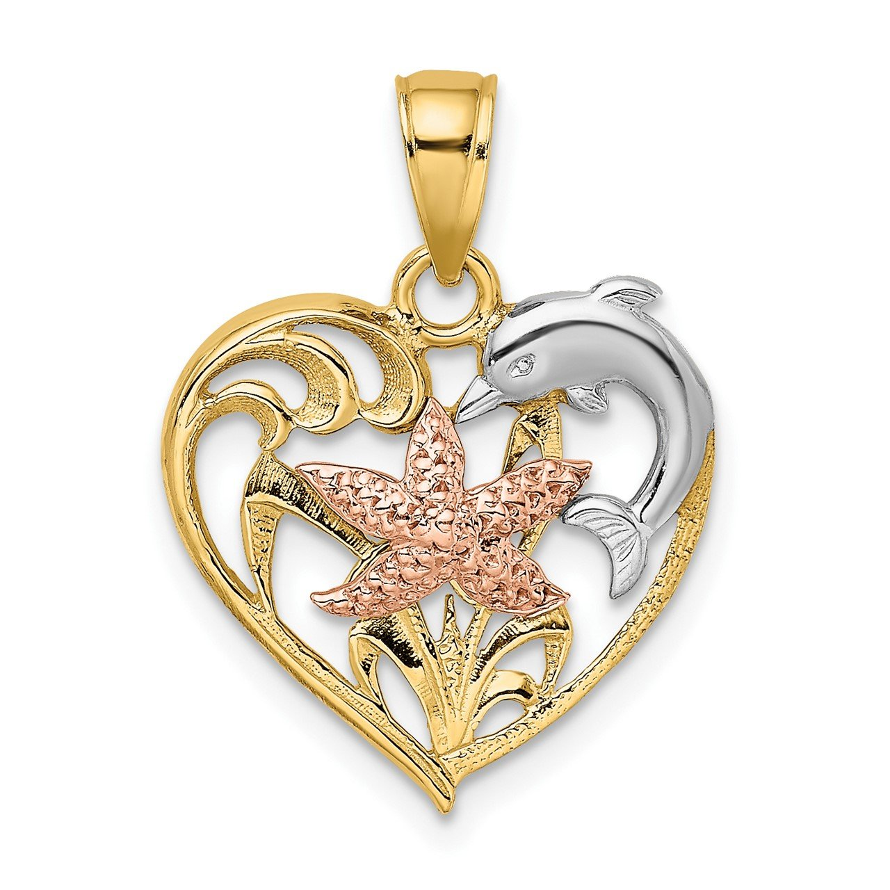 14K Two-tone with White Rhodium Dolphin and Starfish In Heart Charm