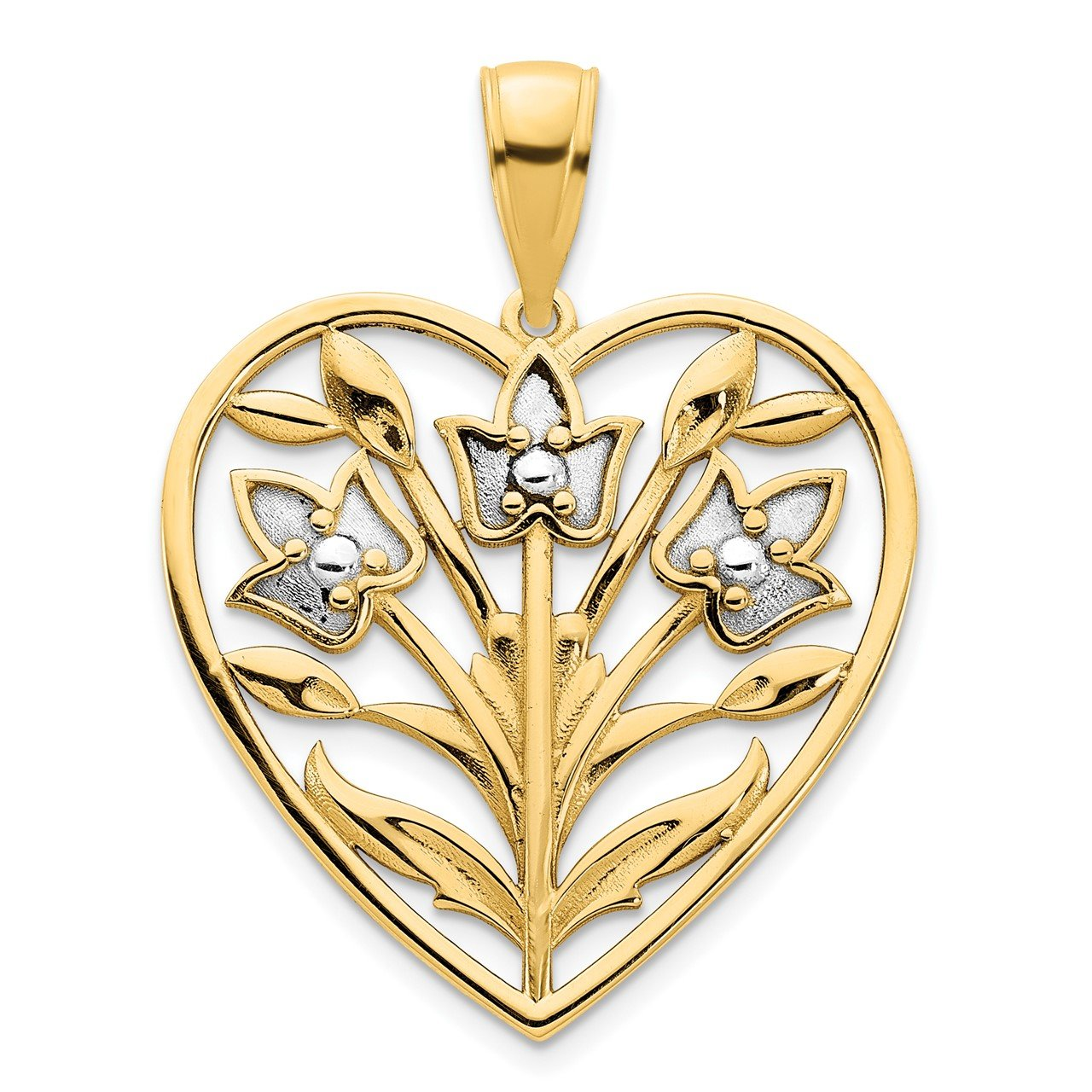 14k and White Rhodium Fancy Heart Pendant