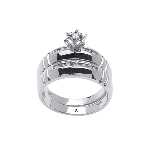 14K White / Yellow / Rose Gold Channel Set Natural Diamond Wedding Set (Center Stone Not Included)
