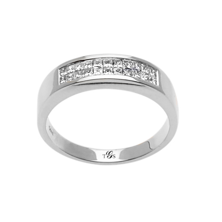 14k White / Yellow / Rose Gold Diamond Men Band