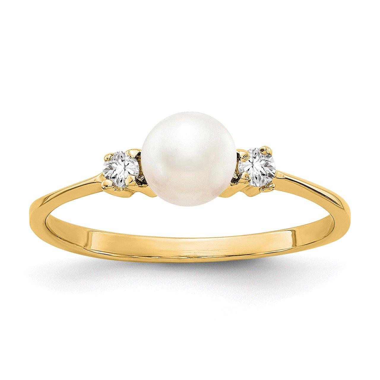 14k 5mm FW Cultured Pearl AAA Diamond ring