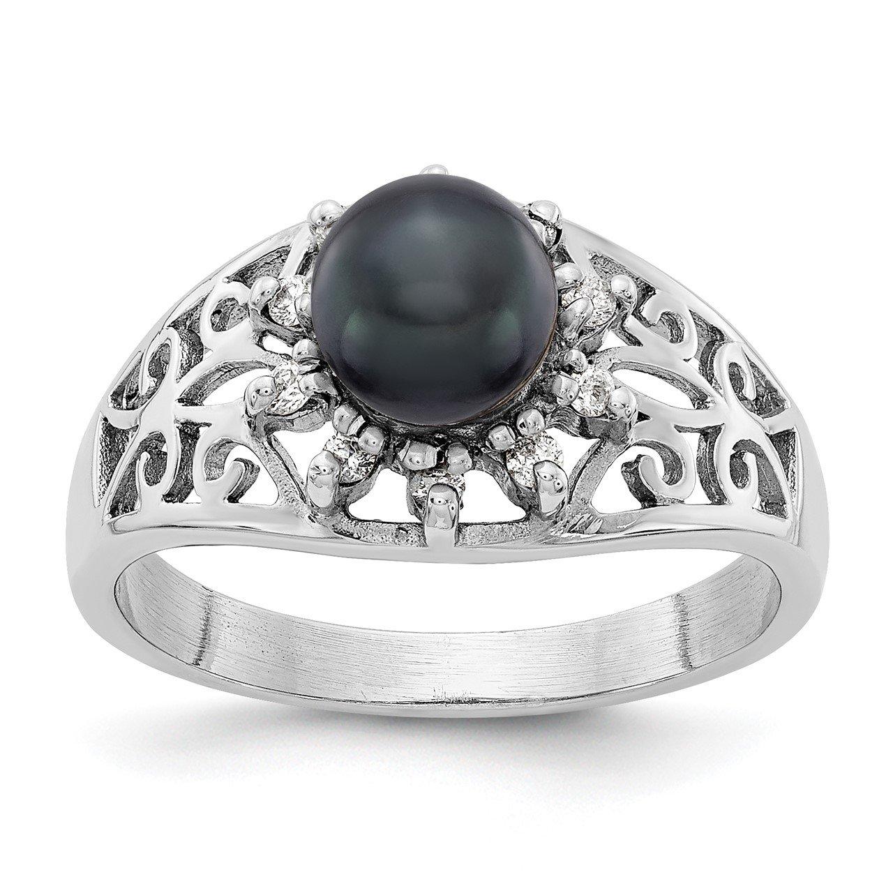 14k White Gold 6mm Black FW Cultured Pearl VS Diamond ring
