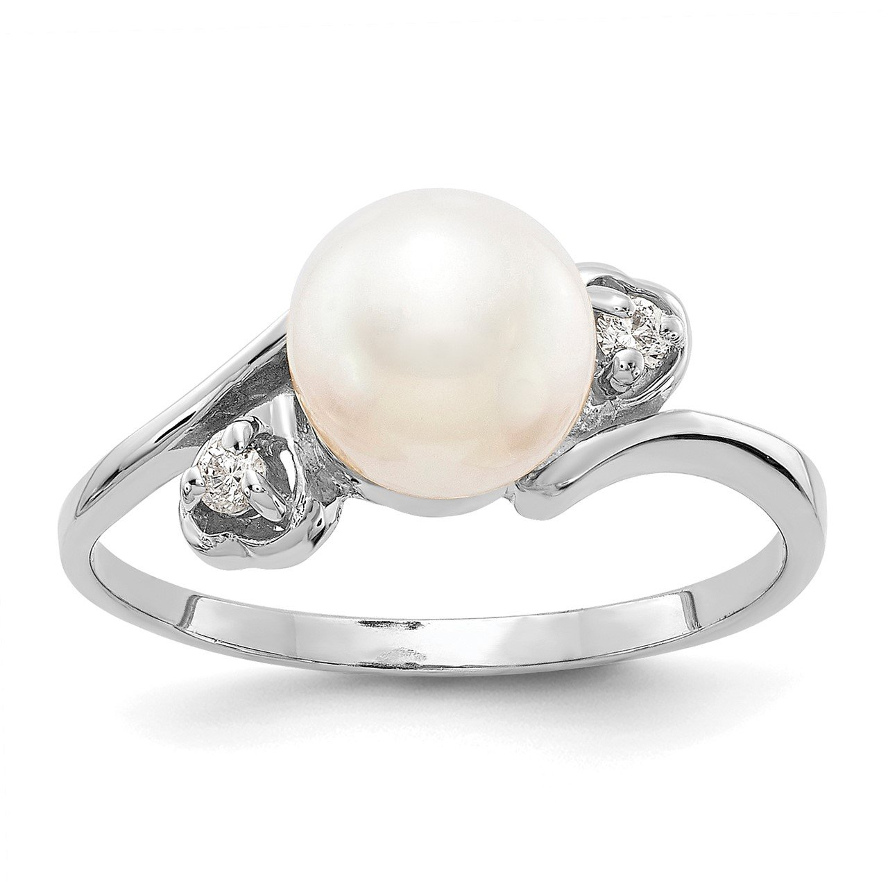 14k White Gold 7mm FW Cultured Pearl AA Diamond ring