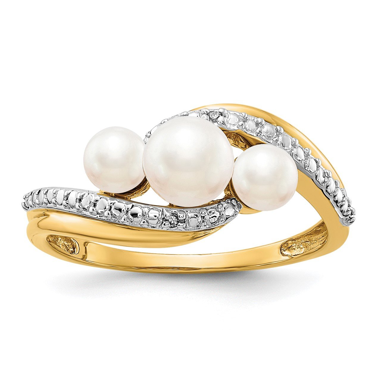 14k Diamond and FW Cultured 3-Pearl Bypass Ring