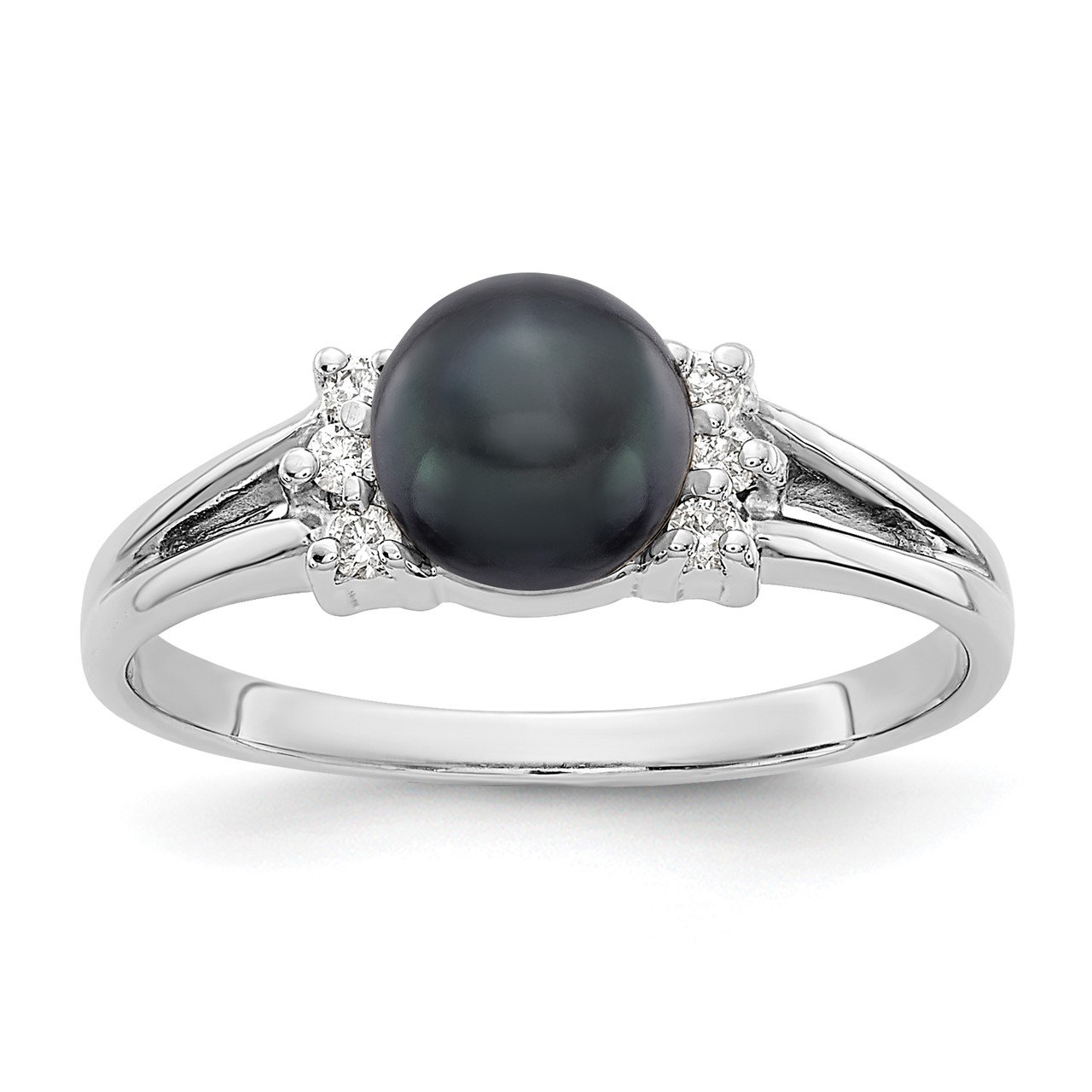 14k White Gold 6mm Black FW Cultured Pearl A Diamond ring