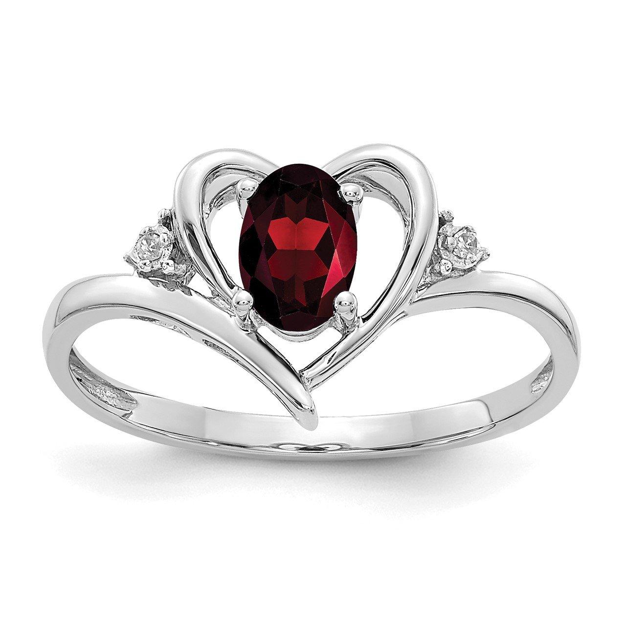 14k White Gold Garnet and Diamond Heart Ring