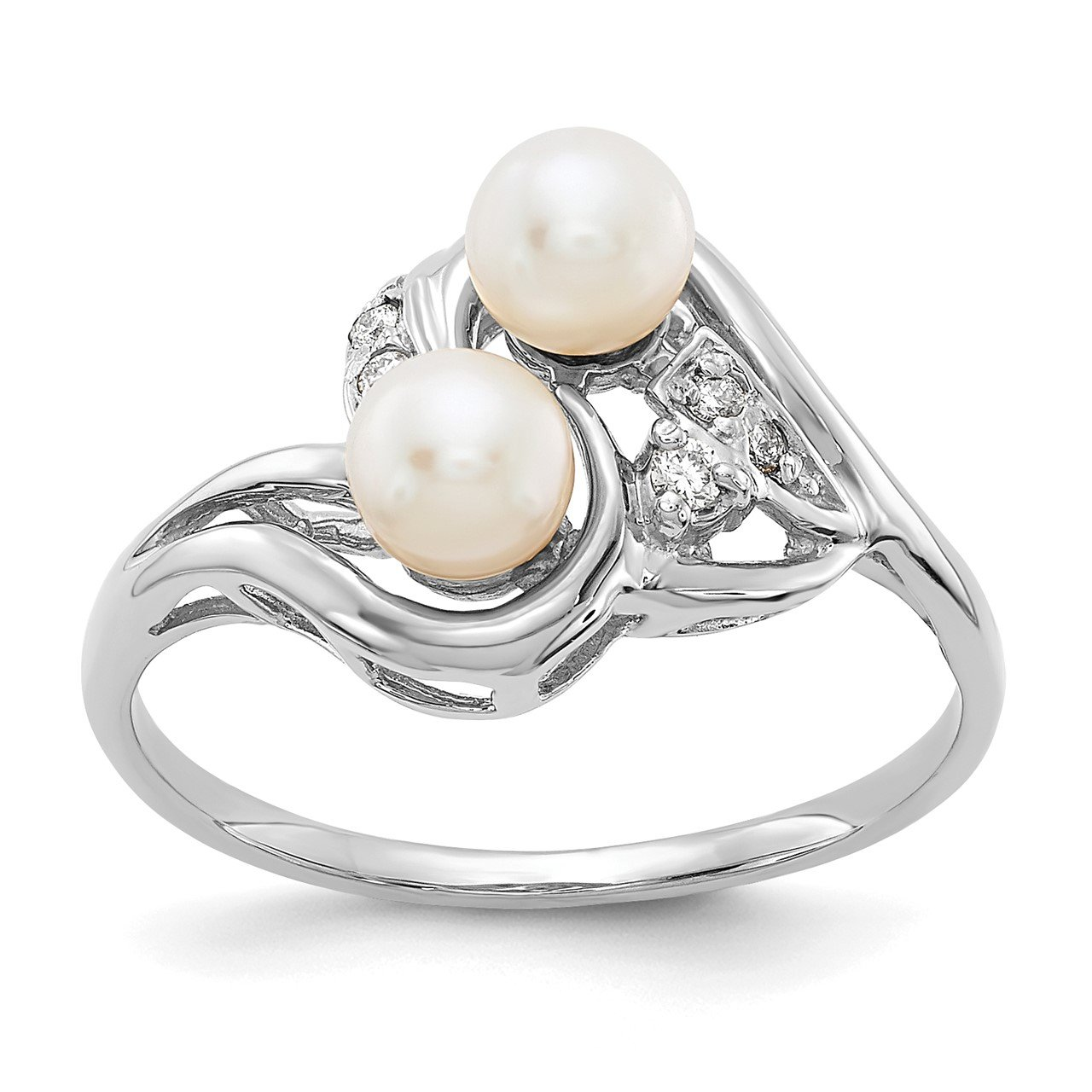 14k White Gold 4.5mm FW Cultured Pearl A Diamond ring