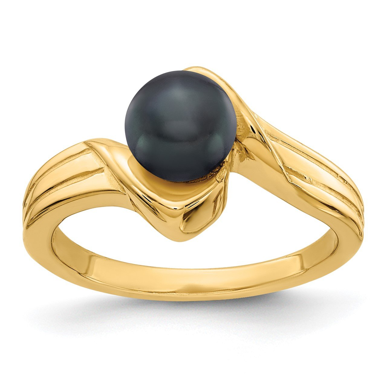 14k 6mm Black FW Cultured Pearl ring