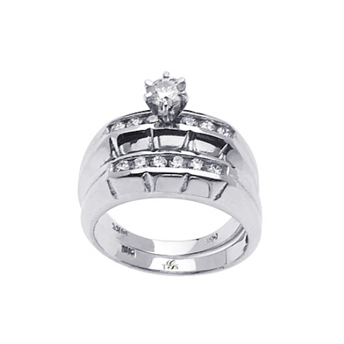 14k White / Yellow /Rose Gold Channel Set Natural Diamond Wedding Set (Center Stone Not Included)