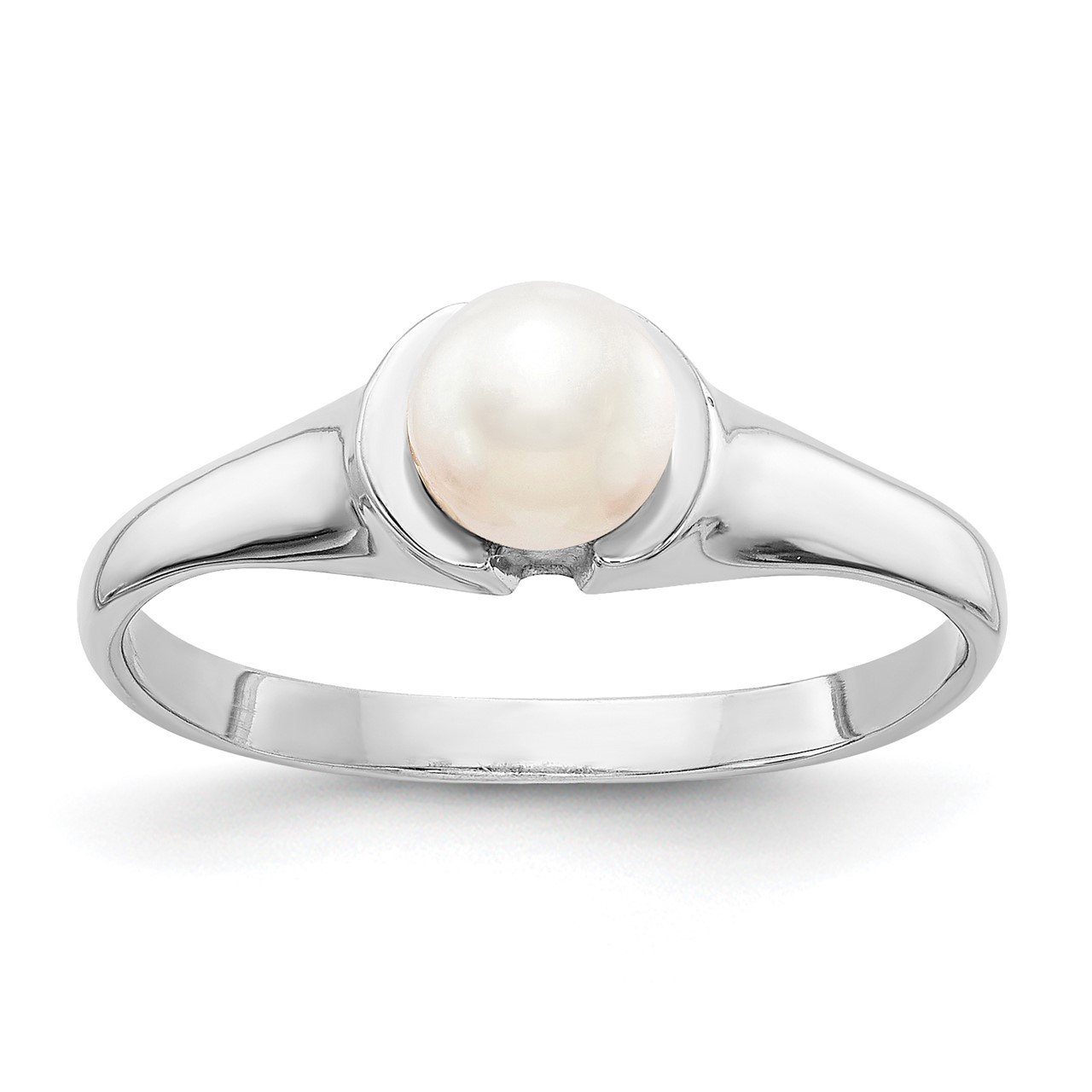 14k White Gold 5mm FW Cultured Pearl Ring