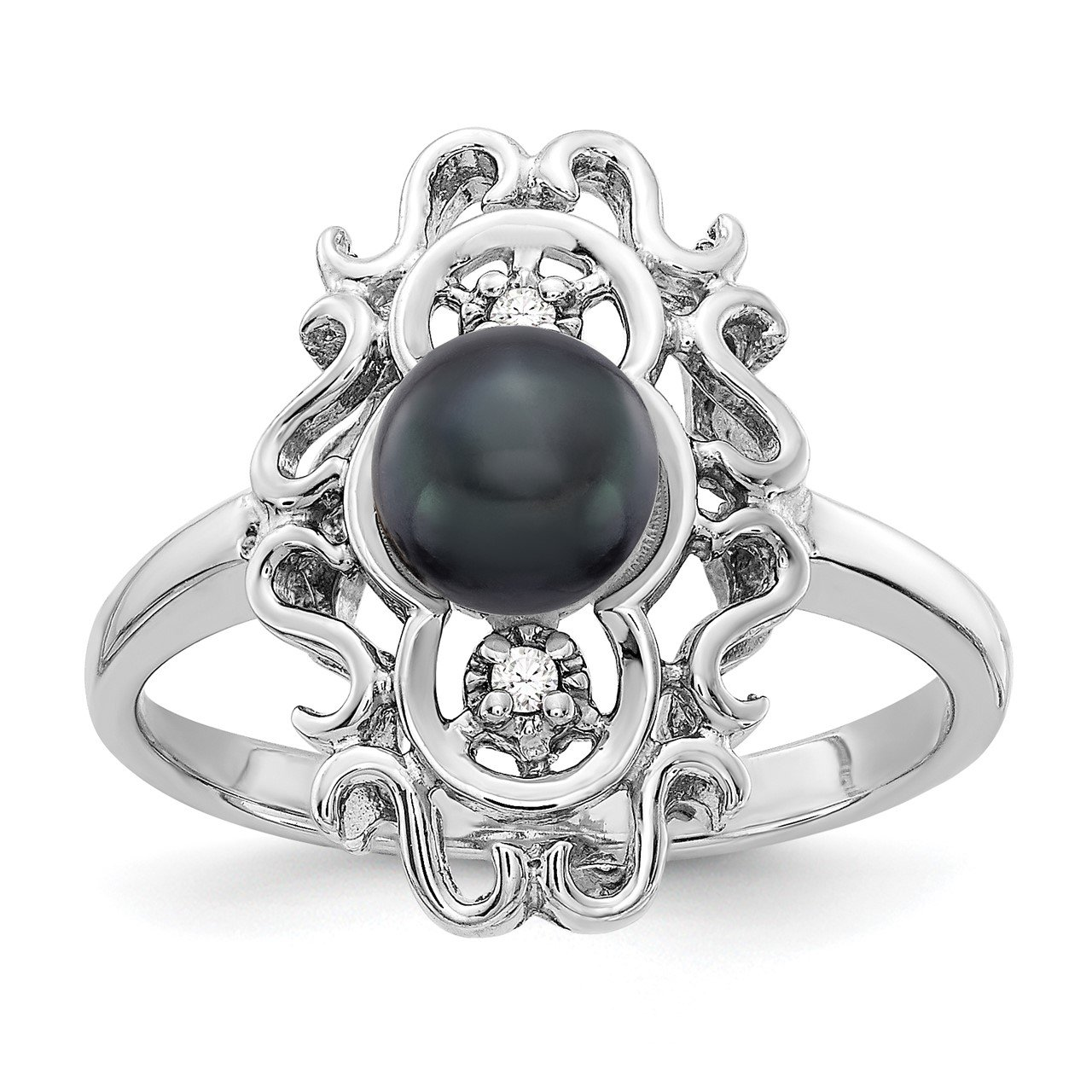 14k White Gold 5.5mm Black FW Cultured Pearl AA Diamond ring