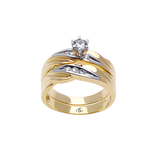 14k Two Tone Gold Channel Set Natural Diamond Wedding Set (Center Stone Not Included)