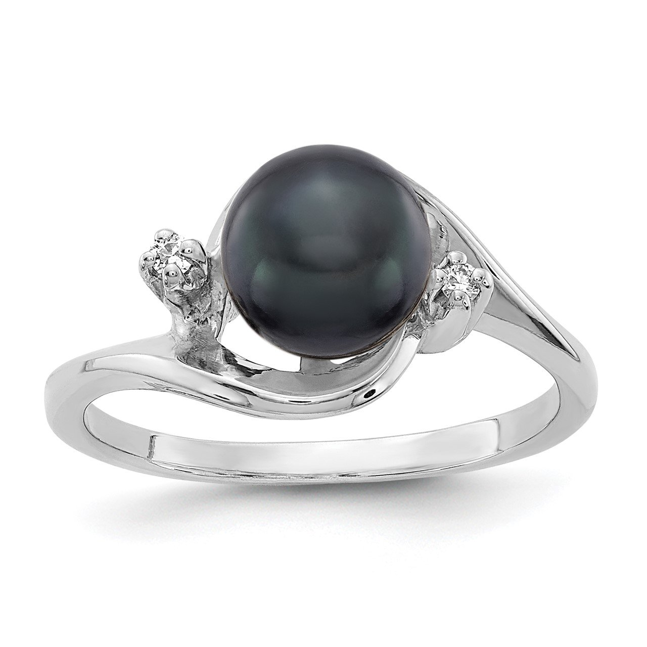 14k White Gold 7mm Black FW Cultured Pearl AA Diamond ring