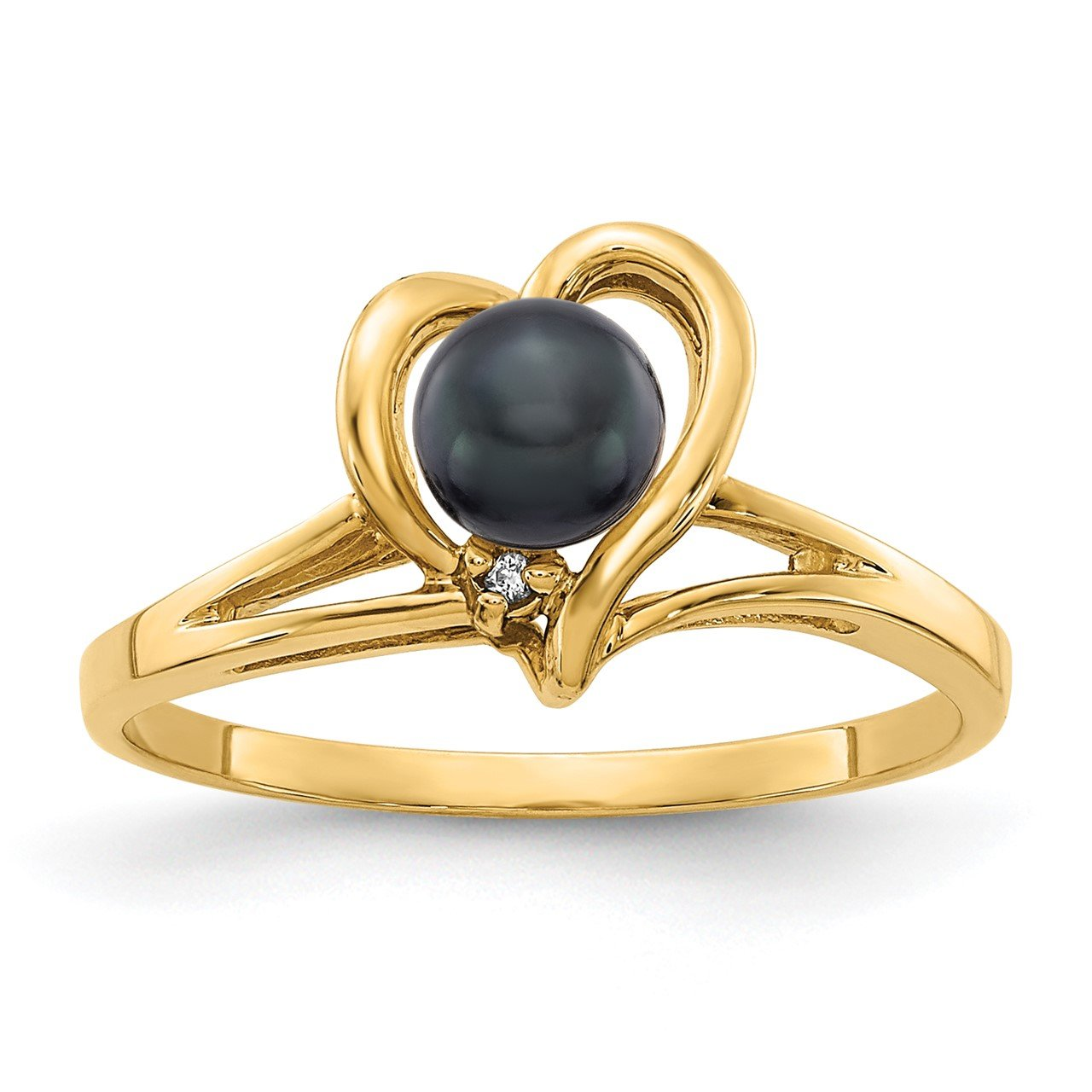 14k 4.5mm Black FW Cultured Pearl AA Diamond ring