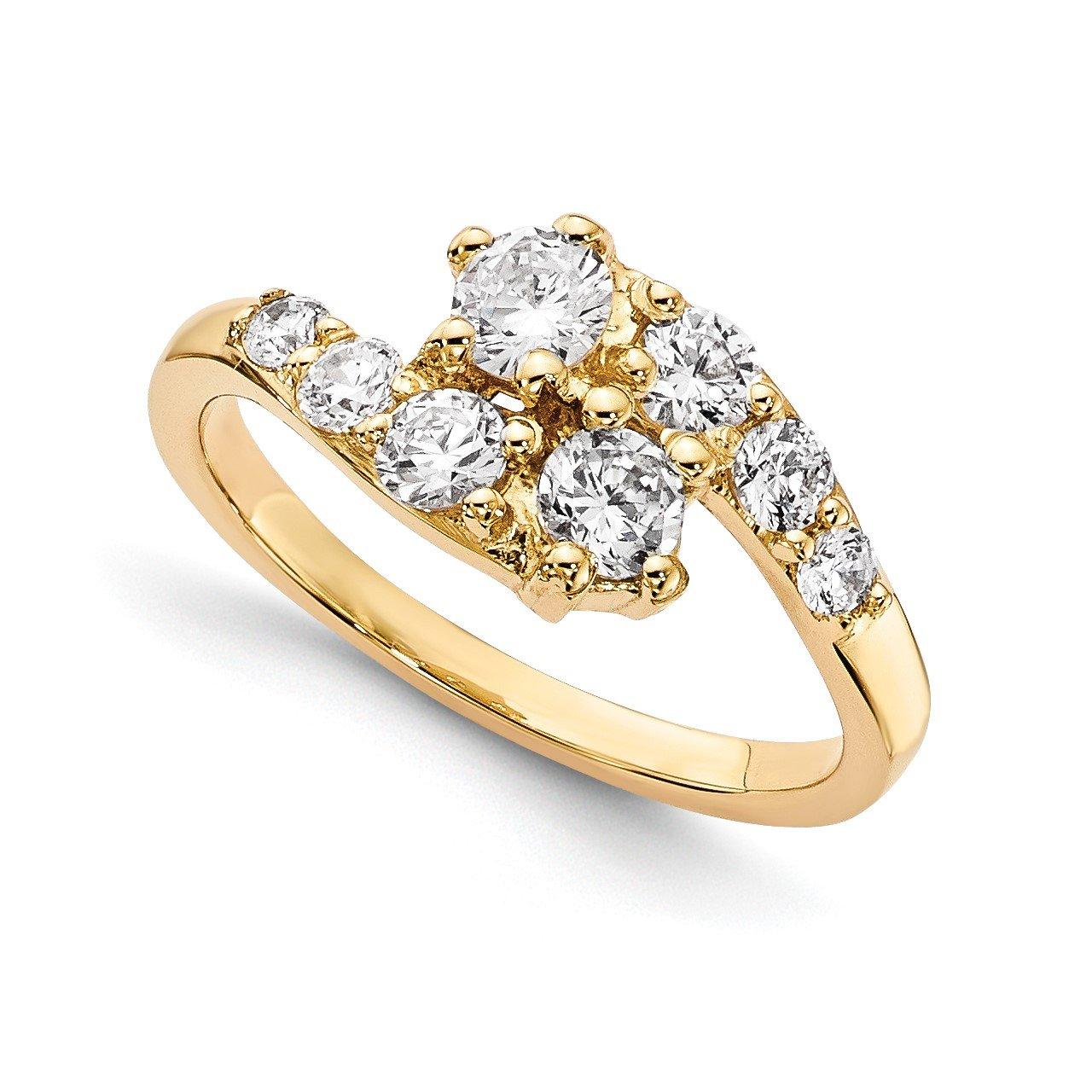 14KY AAA Diamond 2-stone Ring Semi-Mount - 2.6 mm center stones