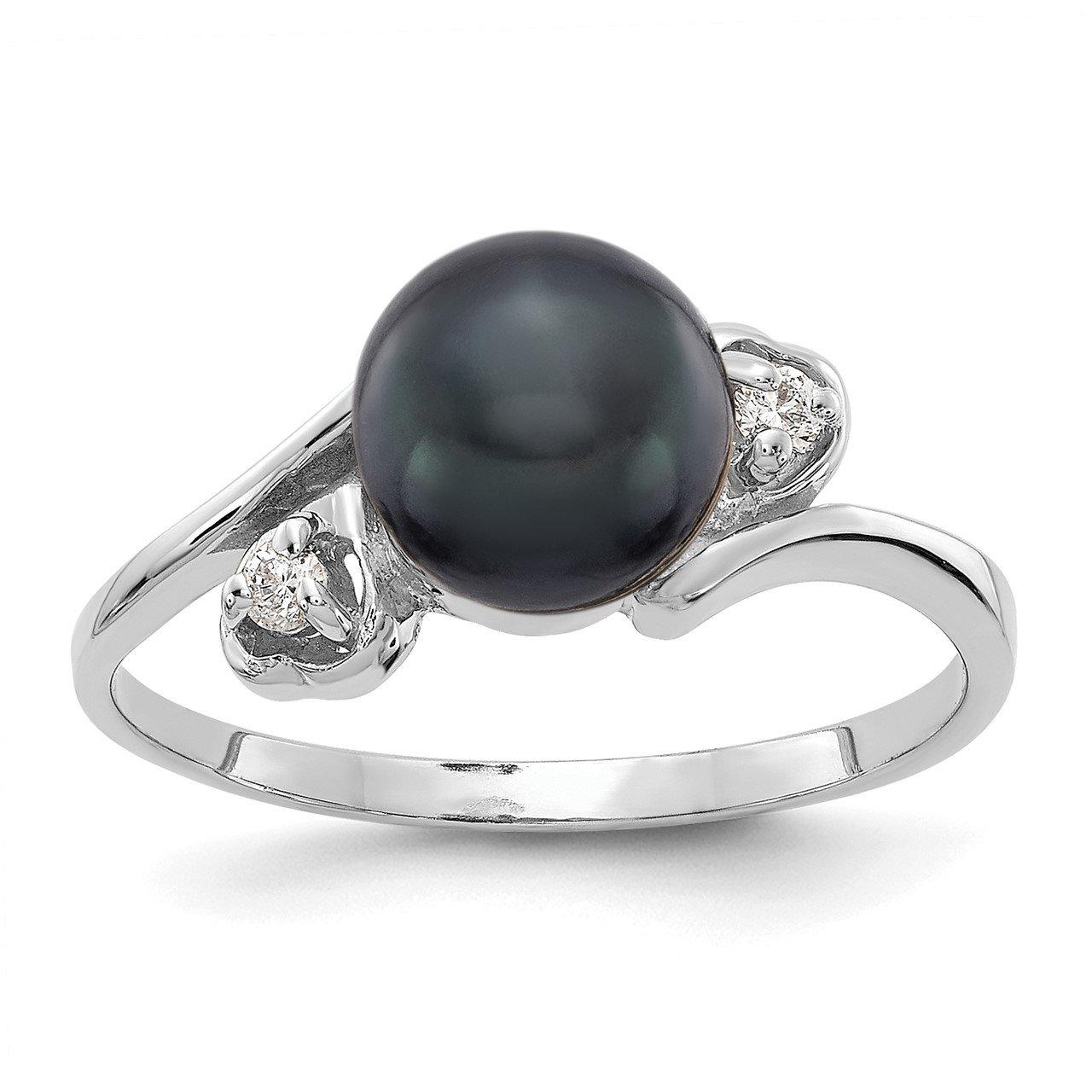 14k White Gold 7mm Black FW Cultured Pearl VS Diamond ring
