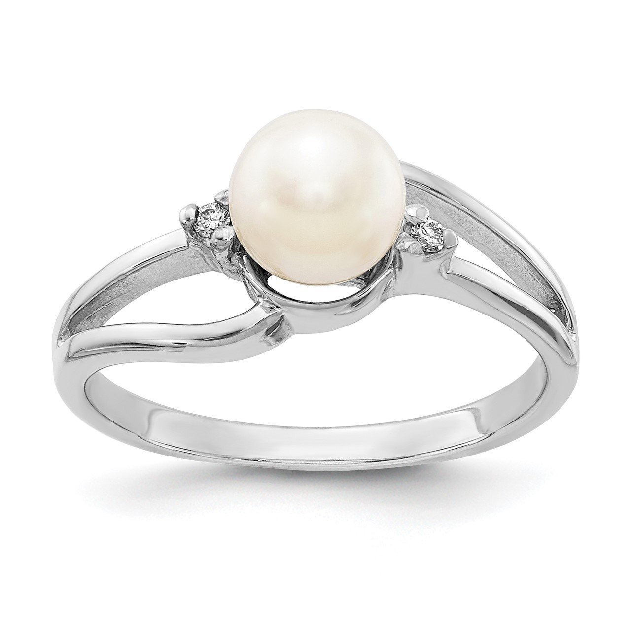 14k White Gold 6mm FW Cultured Pearl AAA Diamond ring