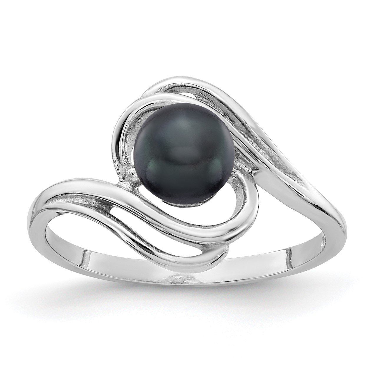 14k White Gold 5.5mm Black FW Cultured Pearl ring