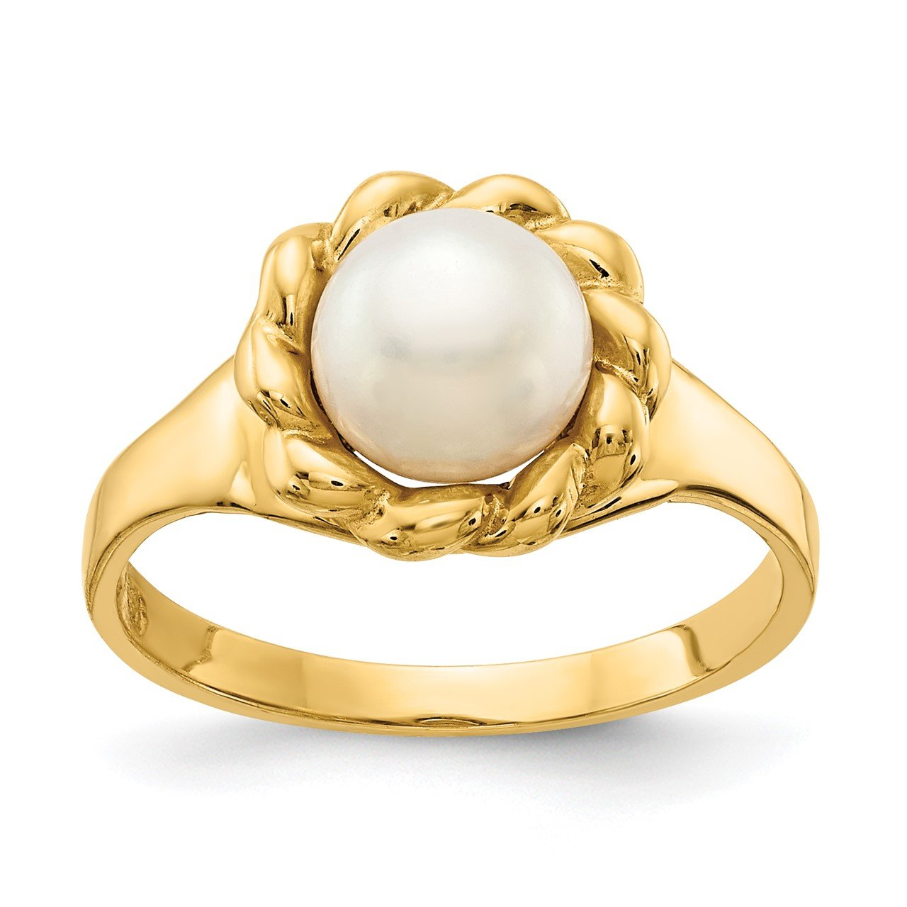 14K 6-7mm White Button Freshwater Cultured Pearl Ring