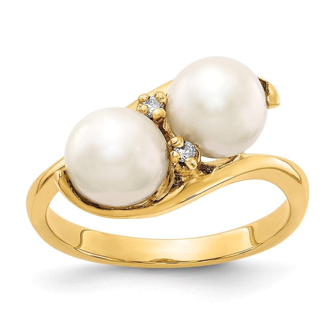 14k 6mm FW Cultured Pearl AAA Diamond ring