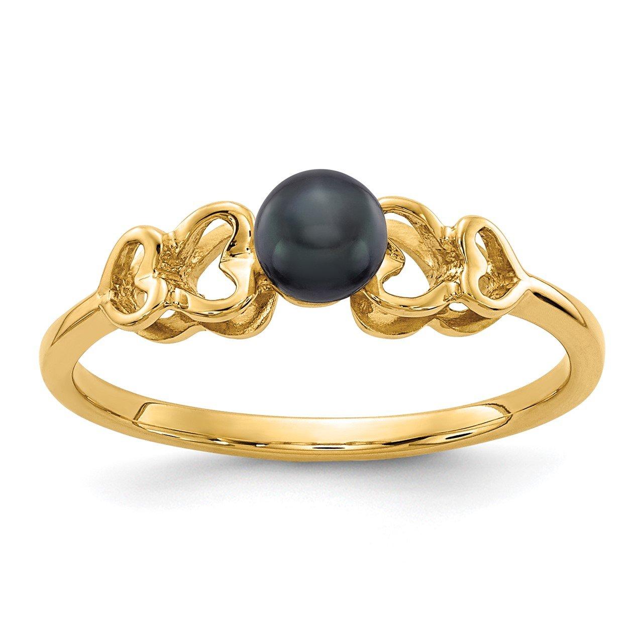 14k 4mm Black FW Cultured Pearl ring