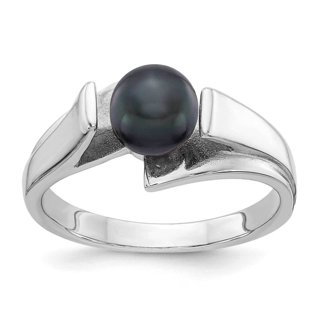 14k White Gold 6mm Black FW Cultured Pearl ring
