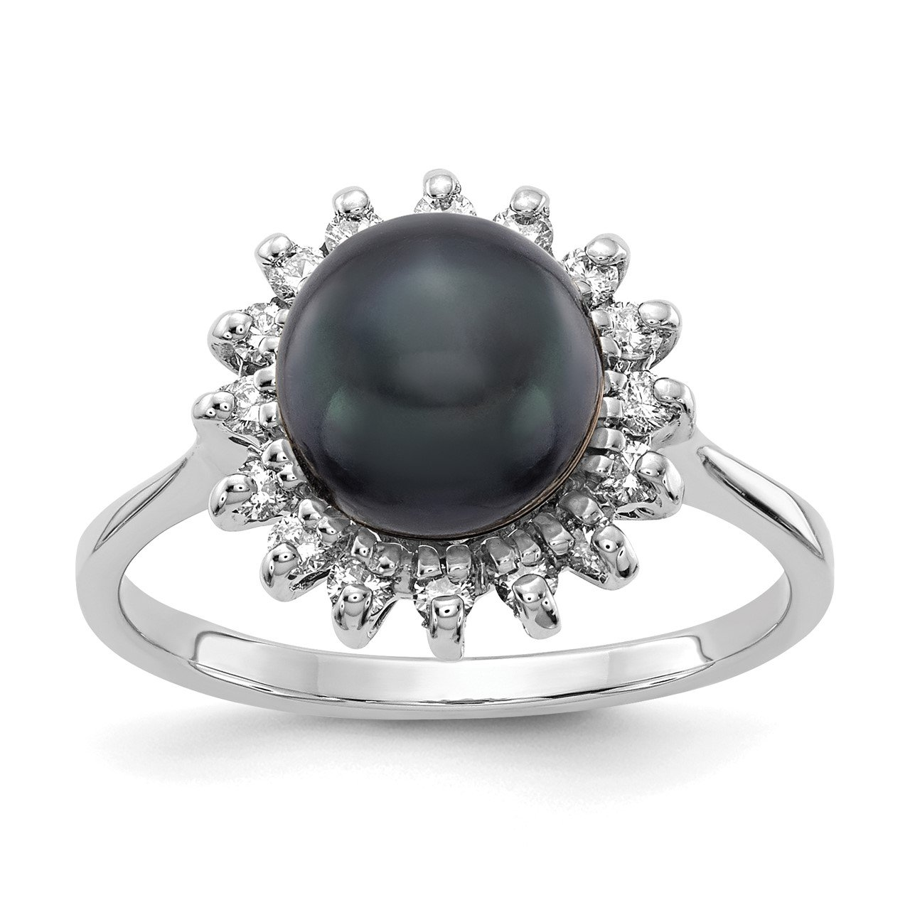 14k White Gold 7.5mm Black FW Cultured Pearl AA Diamond ring