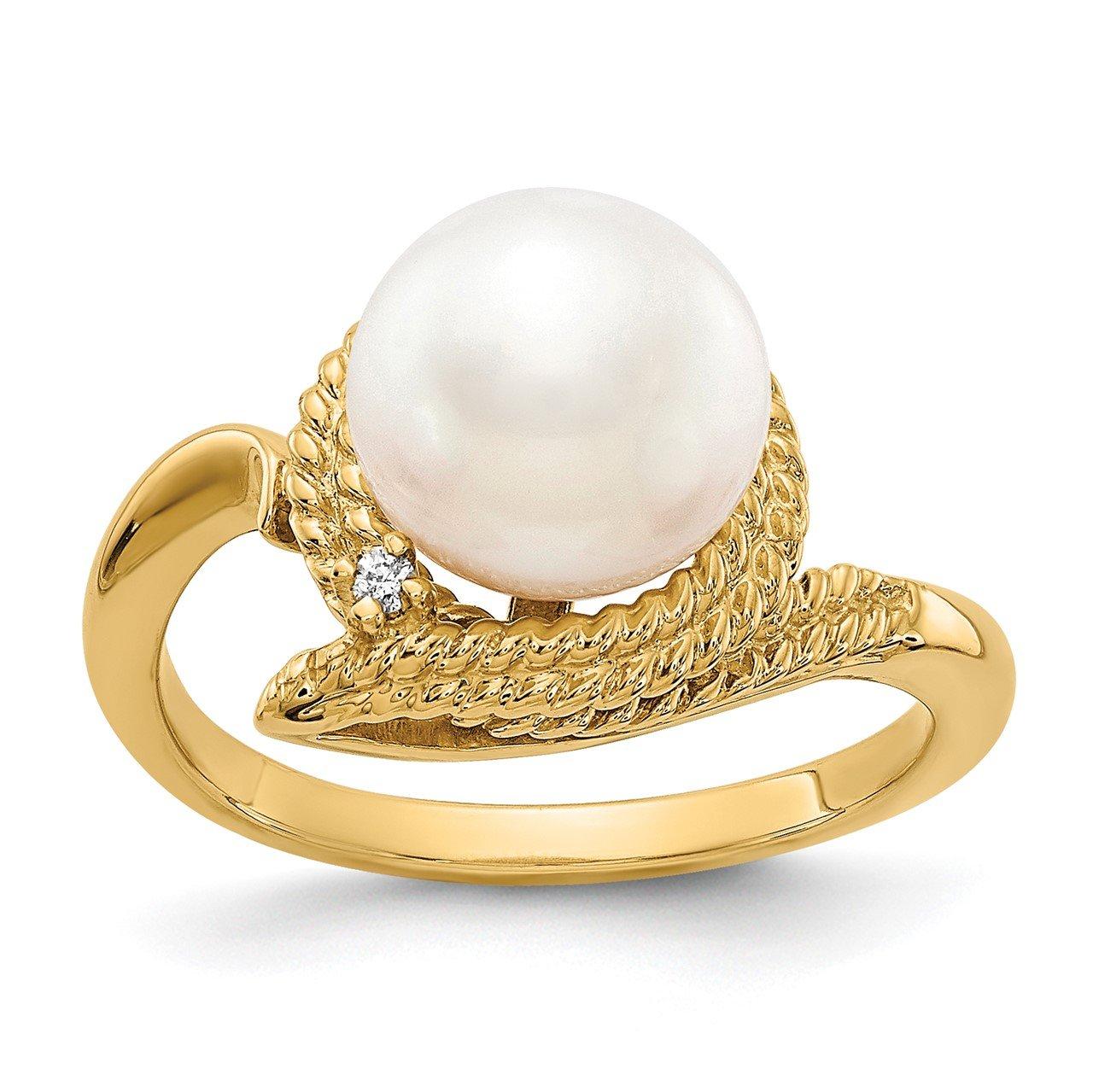 14k 8.5mm FW Cultured Pearl AA Diamond ring
