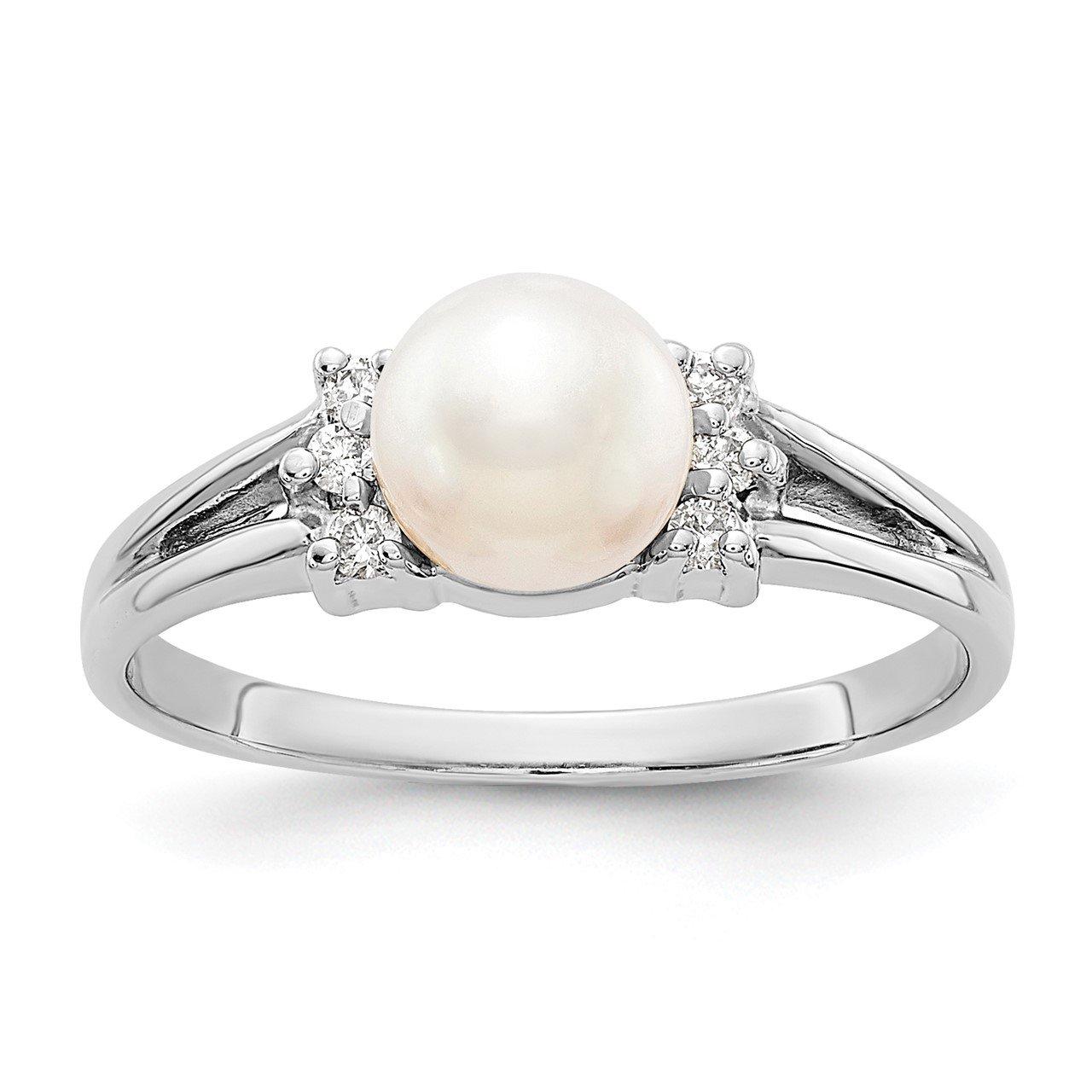 14k White Gold 6mm FW Cultured Pearl VS Diamond ring
